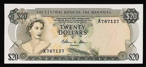 Bahamas, Central Bank, $1, $5,