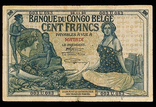Banque du Congo Belge, 100-Fra