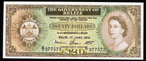 Government of Belize, $20, 1 J