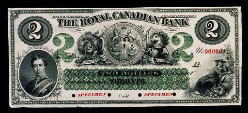 Royal Canadian Bank, specimen