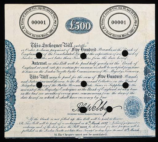 Exchequer Bill, proof for £500