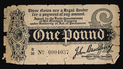 John Bradbury, £1 ND (1914), s