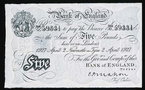 Bank of England, C P Mahon, £5