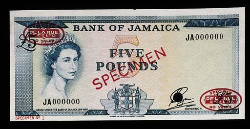 Bank of Jamaica, specimen £5 (