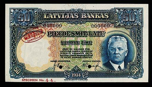 Bank of Latvia, specimen 50-La