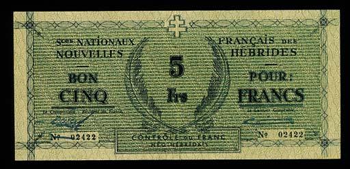 New Hebrides, 5-Francs, ND (19