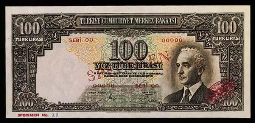 Turkey, Central Bank, specimen