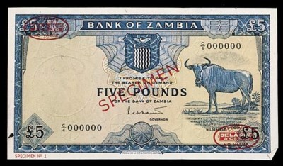Bank of Zambia, specimen £5, N