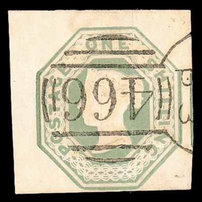 used  1/- pale green, from top