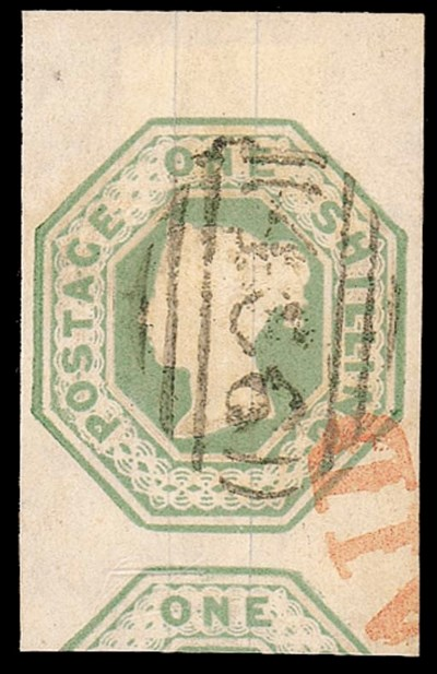 used  1/- green, from top of t