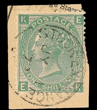on piece  1/- green, plate 5,
