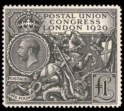 unused  1929 P.U.C. £1 black,