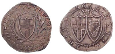 Sixpence, 1660, anchor initial