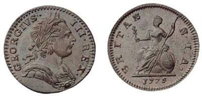 George III, Farthing, 1775, la