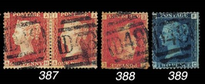 used  1d. Plate 177 pair, AH-A
