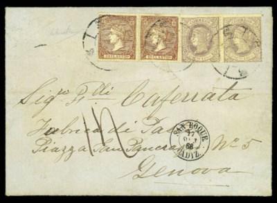 cover 1866 (Oct.) entire via S