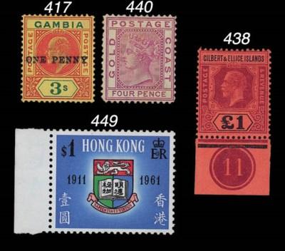 unused  1912-24 £1 purple and