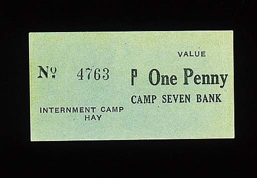 Camp Hay Internment Camp, camp seven, 1-Penny, ND (c.1941) serial no. 4763, black text on green card (Schwan - Boling 558a), this is the plate note, about uncirculated, rare
