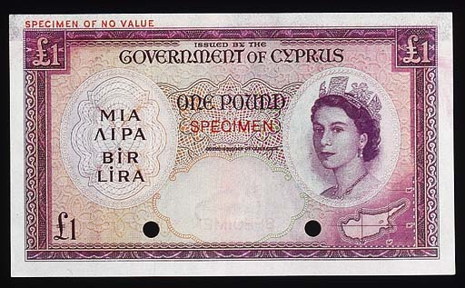 Government Issue, colour trial £1, ND (c.1955), purple and multicoloured, Elizabeth II and map at right, rev. purple, arms at right (P.35), SPECIMEN overprint, perforation, mounting traces at top, about extremely fine