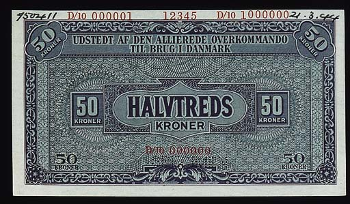 Allied Command, specimen 50-Kronor, red serial no. D/10 000000, (ND (1945), violet, value at each corner, rev. violet and brown, value at centre (PM 5), perforated SPECIMEN, ink date '21.3.44' in margin, uncirculated, rare