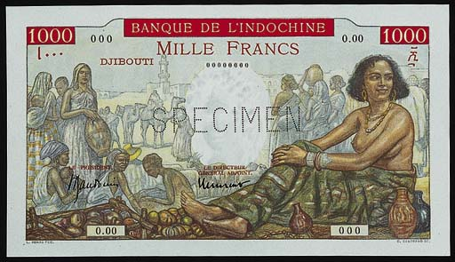 Banque de l'Indochine, specimen 1000-Francs (2), ND (type of 1938), zero serial nos., market scene, maiden at right, Borduge and Baudouin and Baudouin and Laurent signatures, one example with value in solid red background, rev. multicoloured, local man and woman (Kolsky 617, 618), perforated SPECIMEN, small numeral on face of K617 otherwise uncirculated, rare