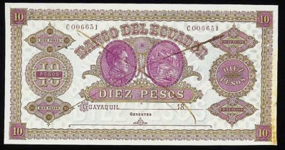 Banco del Ecuador, colour tria