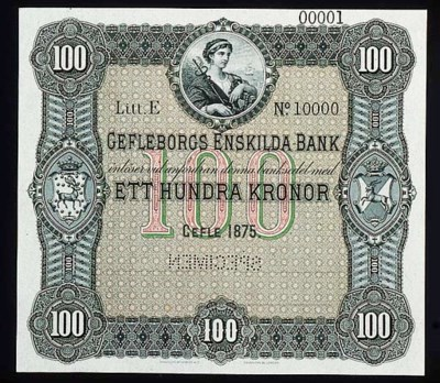 Gefleborgs Enskilda Bank, spec