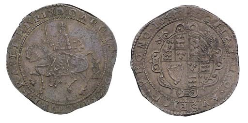 Exeter mint, Crown, 1645, m.m.