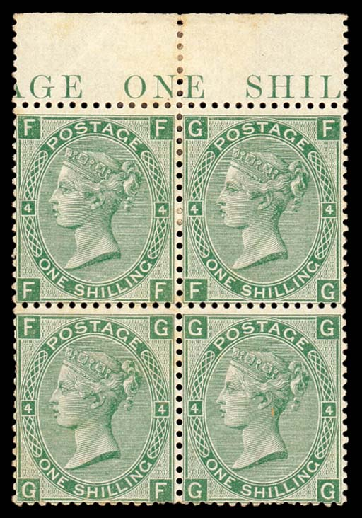 unused Block of Four  1/- greeen, plate 4, FF-GG block of four from top of the sheet showing part inscription, fresh unused with part original gum; some faults and a few short or missing perfs., otherwise fine. Attractive. S.G. 117, £2500. Photo