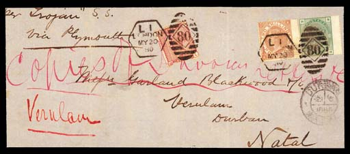 "on piece  2/- brown, KD, wing margin at right, used together with 1873-80 1/- green, plate 13, NH, and 1880-81 1d. Venetian red, on part of large envelope front addressed to Natal, tied by fine London ""L1/80"" Late Fee duplex cancellations; some red ink filing note ms. over the 1d. and over corner of the 2/-, otherwise fine. Extremely rare. Photo"