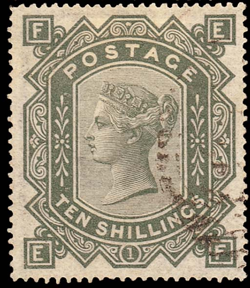 used  -- 10/- greenish grey, EF, very lightly cancelled; reperforated at top, otherwise fine. Attractive. S.G. 128, £1300. Photo
