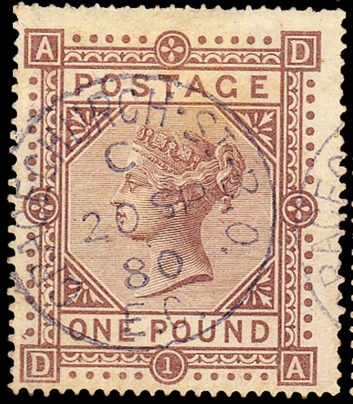 """used  -- £1 brown-lilac, DA, centred to lower-left, superb light strike of the blue """"GRACECHURCH ST. B.O"""" c.d.s. for 20 September 1880; needle perfs. at top (natural), pressed crease and faint tone patch but still a most appealing example. S.G. 129, £1900. R.P.S. Certificate (1984). Photo"""