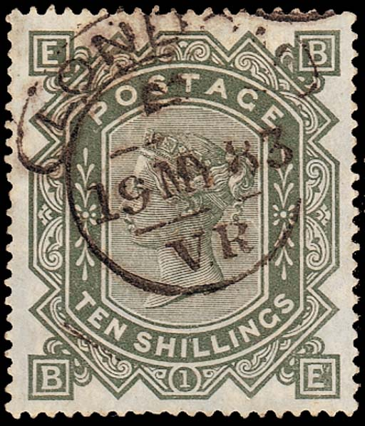 "used  -- 10/- grey-green, BE, very fine strike of the rare ""LONDON/V.R"" hooded-circle datestamp for 19 May 1883; a few short perfs. at foot, otherwise fine. Very attractive. This is the first example of this cancellation we have seen on this issue. S.G. 131, £2100. Photo"