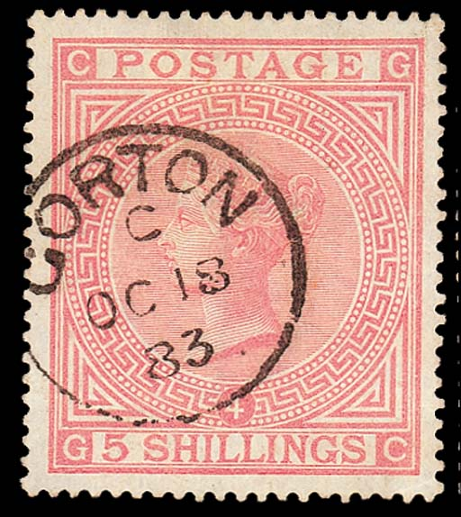 "used  -- 5/- rose, GC, very fine ""GORTON"" c.d.s. for 18 October 1883; creased but otherwise fine and not detracting from the wonderful appearance. S.G. 134, £1400. Photo"
