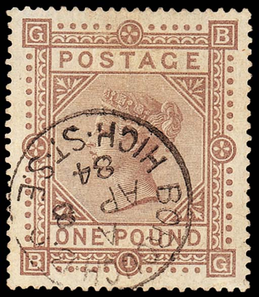 "used  -- £1 brown-lilac, BG, fine light strike of the ""BOROUGH B.O/HIGH ST. S.E"" c.d.s. for 8 April 1884; light horizontal crease, trace of soiling at top, otherwise fine. S.G. 136, £3000. R.P.S. Certificate (1974). Photo"