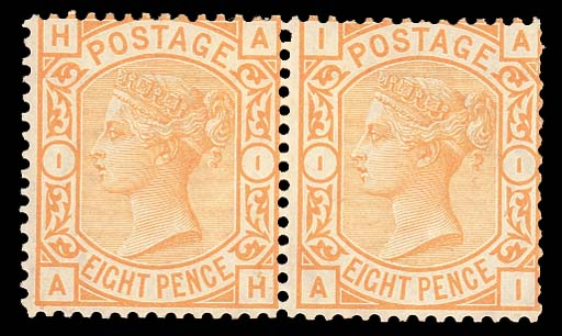 unused  8d. orange, AH-AI pair, short stamps from the A row, fresh unused with part original gum; some gum bends, AH with light corner crease, AI with some short or missing perfs. at right, otherwise fine. S.G. 156, £1500. Photo