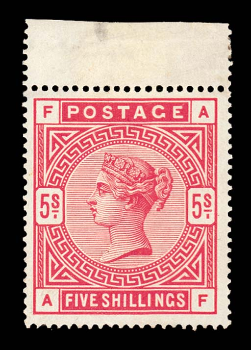 unused  5/- crimson, AF, fresh unused from top of the sheet with full original gum (faint trace of hinge at top); slight gum wrinkling at lower-left. Fine and most attractive. S.G. 181, £550. Photo