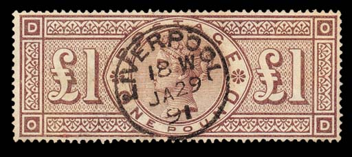 """used  OD, good colour, used with superb central """"LIVERPOOL"""" c.d.s. for 29 January 1891; pressed vertical crease and tiny surface rub at lower-left but not detracting from this extremely attractive example. S.G. 185, £1400. Photo"""