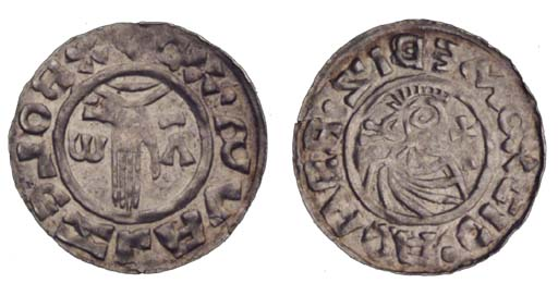 Boleslav II, Denar, obv. hand