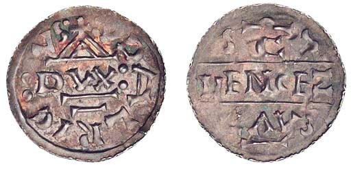 Oldrich, Denar, obv. temple wi