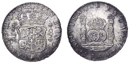 Pillar Dollar, 1764 JM, no dot