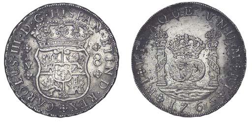 Pillar Dollar, 1765  JM, with