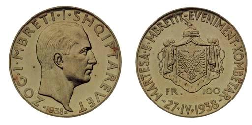 Foreign Coins, Zog, 100-Franga