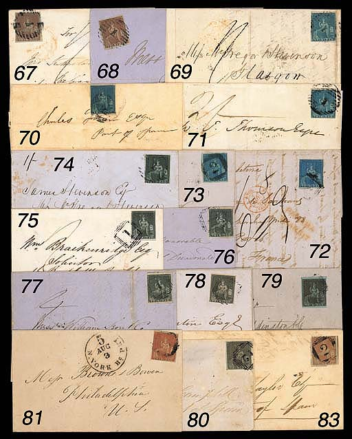 """cover (1d.) brownish grey with small to large margins, tied by """"1"""" obliterator on 1853 (10 Feb.) entire letter to Grenada showing manuscript """"4"""" with, on reverse, """"1"""", despatch and arrival (11.2) datestamps. Scarce. S.G. 6. Photo"""