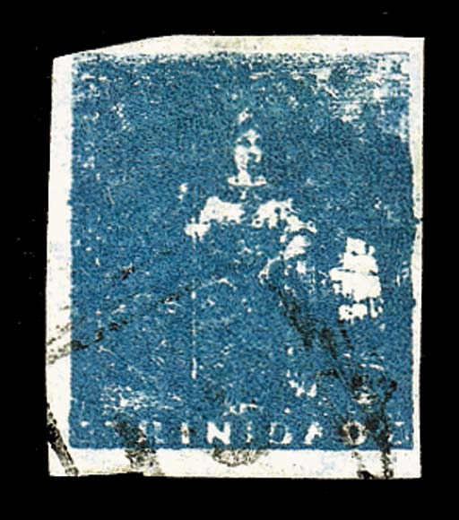 used  (1d.) slate-blue, a bright shade with mainly large margins, lightly cancelled, fine. R.P.S. Certificate (1959). Sc. 11, S.G. 18, £650. Photo