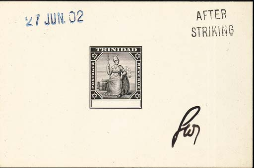 """Proof  Master with blank value tablet in black on glazed card (92x60mm.) marked """"AFTER STRIKING"""", dated """"27 JUN. 02"""" and initialled. Photo"""