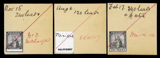 """Proof  Master with blank value tablet, ½d. duty plate with manuscript """"Trinidad"""" at top and 1d. complete design, all stamp-size in black on glazed card and affixed to a piece dated """"Nov 15"""", """"Aug 6"""" and """"Feb 17"""", marked """"240 leads"""", """"120 leads"""" and """"240 leads & 6 extra"""" respectively, each crossed by red ink stroke and dated/marked """"No.3, No charge"""", """"8 Oct 07"""" and """"Mar 14 06"""" respectively. Photo"""