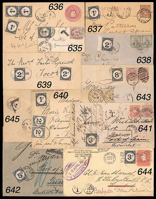 """cover 1885 1d. neatly tied by Port of Spain c.d.s. on small 1896 (10 Dec.) envelope (flap missing) addressed to Government House bearing 1896 ½d. and showing """"T"""" in circle; the 1d. with some small perf faults due to being affixed slightly over top edge of cover. S.G. D2. Photo"""