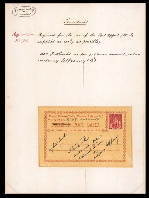 """essay  1879 (16 May) Requisition written out on a sheet (202x310mm.) with """"1000 Post Cards as per pattern annexed, value one half penny (1½d.)"""", the pattern is a handpainted postcard in red on tracing paper (138x89mm.) bearing 1876 (1d.) handstamped """"CANCELLED"""" with various amendments written such as """"Lighter Card"""" and """"Stamp to be embossed value stamped thereon viz onepenny halfpenny"""". Photo"""