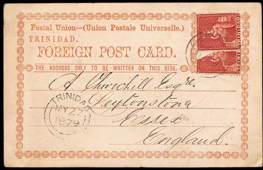 cover -- 1879 Foreign card used from Port of Spain to England bearing 1d. (2, one bisected vertically) tied by light double-arc d.s. (27.5.79). Photo